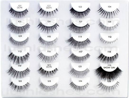 False Eyelashes styles range from style 101 to 134