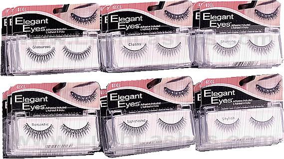 f9929eb66f2 Elegant Eyes False Eyelashes has six styles with rhinestones and glitters  to choose from.