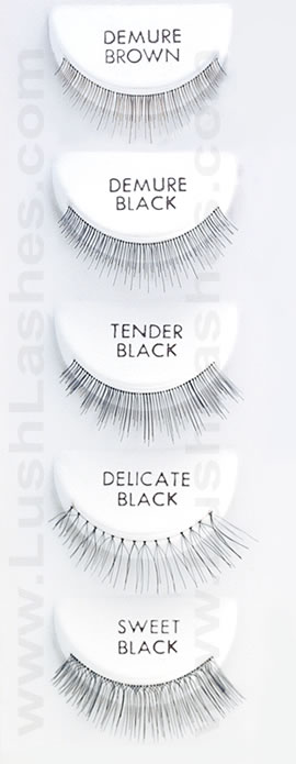 Lashlites false eyelashes styles includes tender, demure, delicate, sweet, and more.